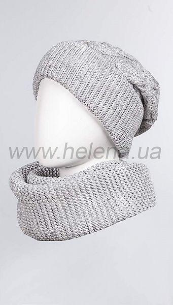 Фото 103378-261 товару Комплект (шапка+шарф) 1023 сір