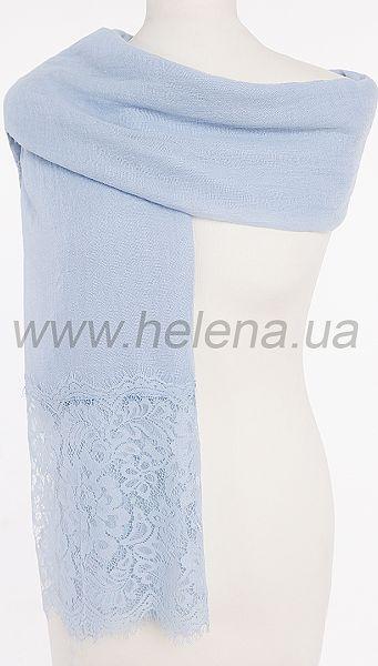 Фото palantin-kruzevo-nebesnyj-1 товару Палантин Мереживо блакитний